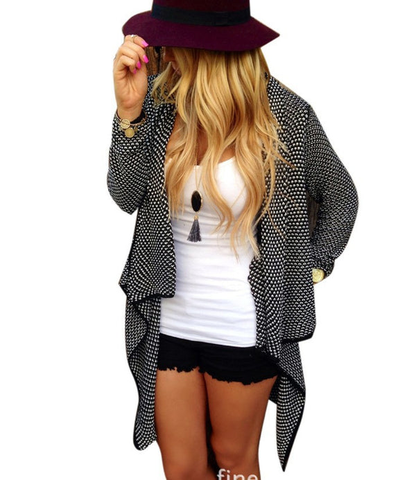 Asymmetric Wave Cardigan Loose Knit Long Sleeve