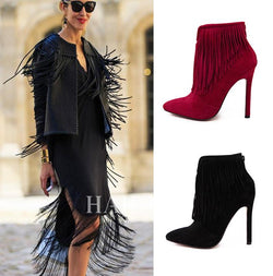 Suede Stiletto Heel Pointed Toe Tassels High Heels Short Boots