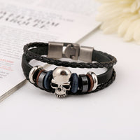 Beaded Skull Woven Leather Bracelet