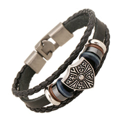 Retro Shield Woven Leather Bracelet