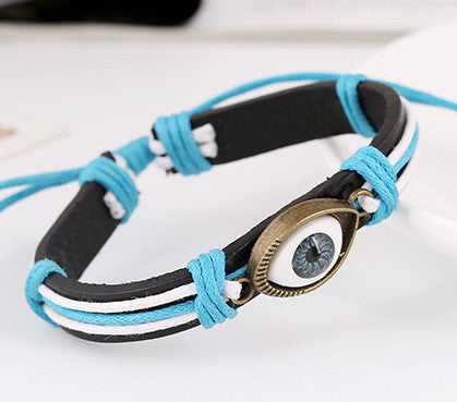 Retro Style Alloy Eyes Leather Bracelet