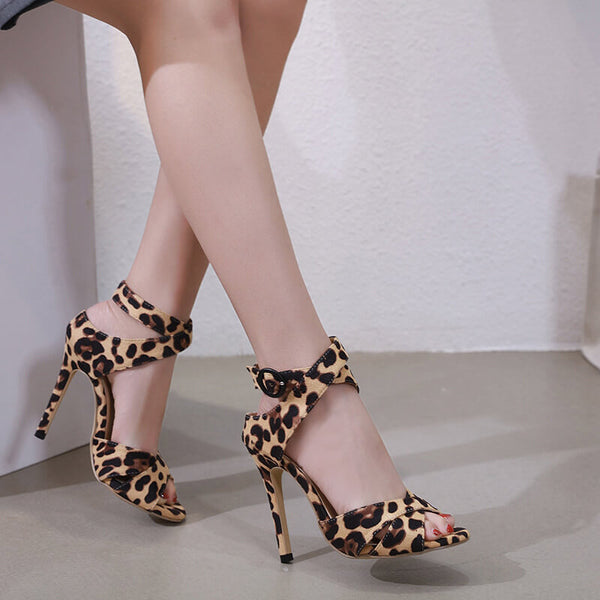 Suede Leopard Peep Toe High Heels Sandals