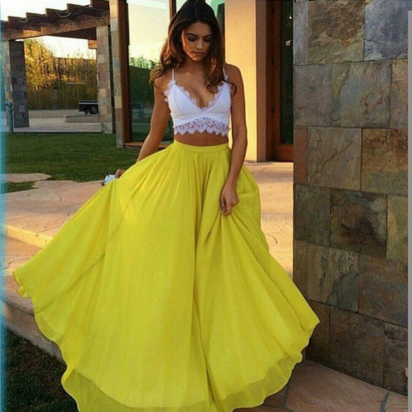 Pure Color High Waist Flared Maxi Skirt - May Your Fashion - 2