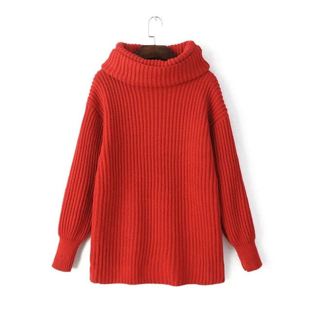 Lapel Pullover Loose High Collar Solid Sweater - May Your Fashion - 7