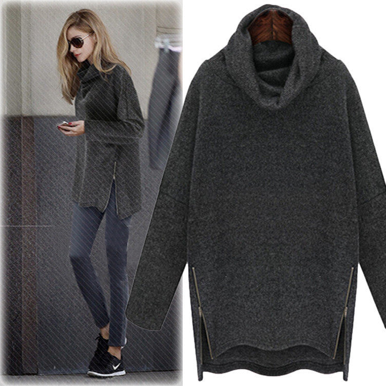Plus Size High Neck Loose Knit Dip Hem Side Zipper Sweater
