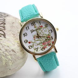 Classic Flower Print Leather Watch