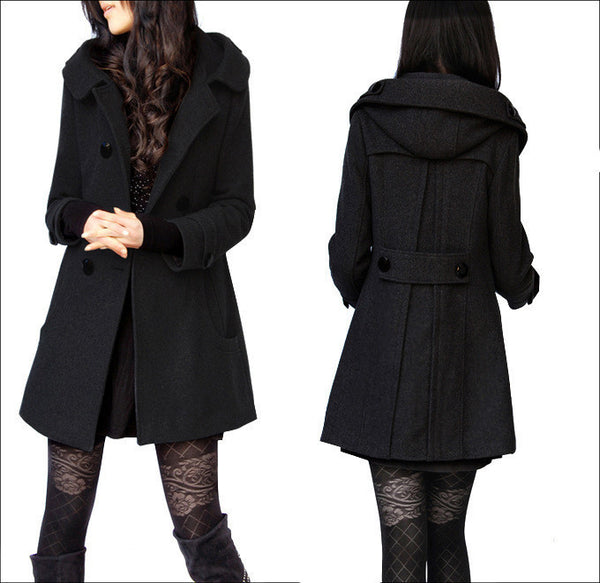 Woolen Double Button Hooded Slim Long Coats - May Your Fashion - 2