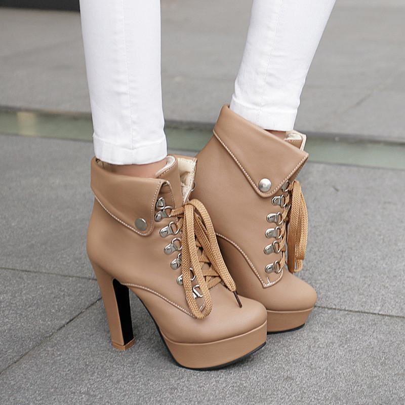 Europe Folding Lace Up High Heeled Martin Boots
