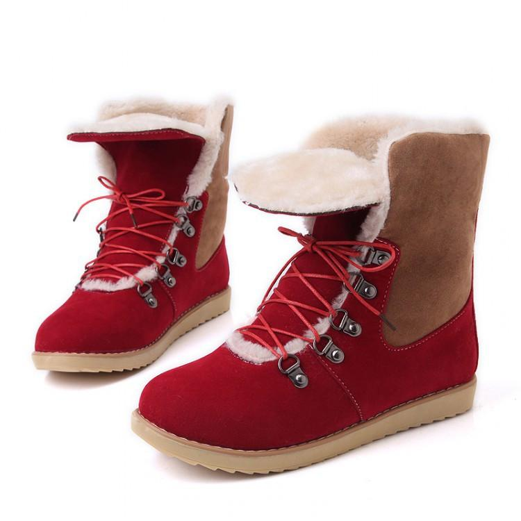 Hot Style Female Lace Up Fur Snow Boots