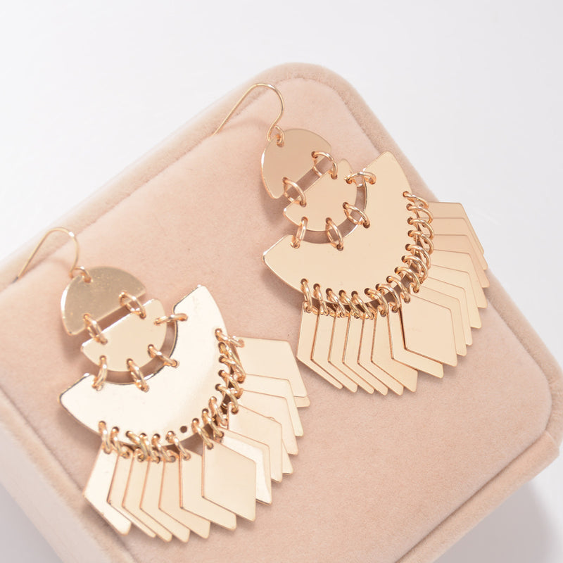 Exaggerated Smooth Sequins Tassel Earrings
