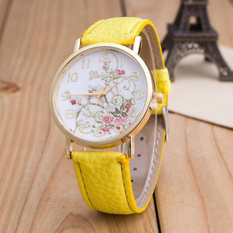 Korea Style Floral Print Watch
