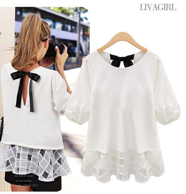 Casual Square Hollow Out Loose 1/2 Sleeve T-shirt