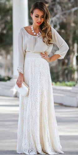 High Waist Hollow Out Lace Slim Full Skirt