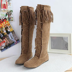 Hot style Frosted Sleeve Flat Tassel High Boots
