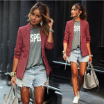 Red Plaid LapeL Long Sleeve Short Blazer Coat - May Your Fashion - 2