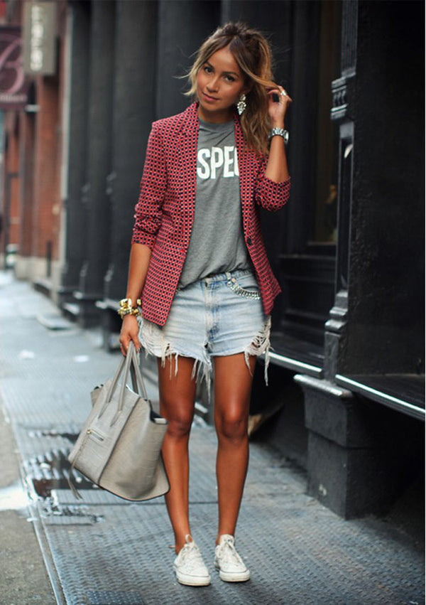 Red Plaid LapeL Long Sleeve Short Blazer Coat - May Your Fashion - 1