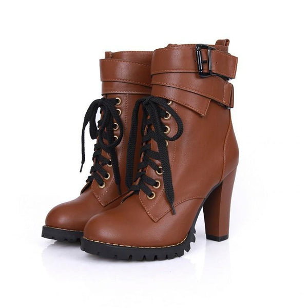 Classic Thicken Cross Belt High-Heeled Martin Boots