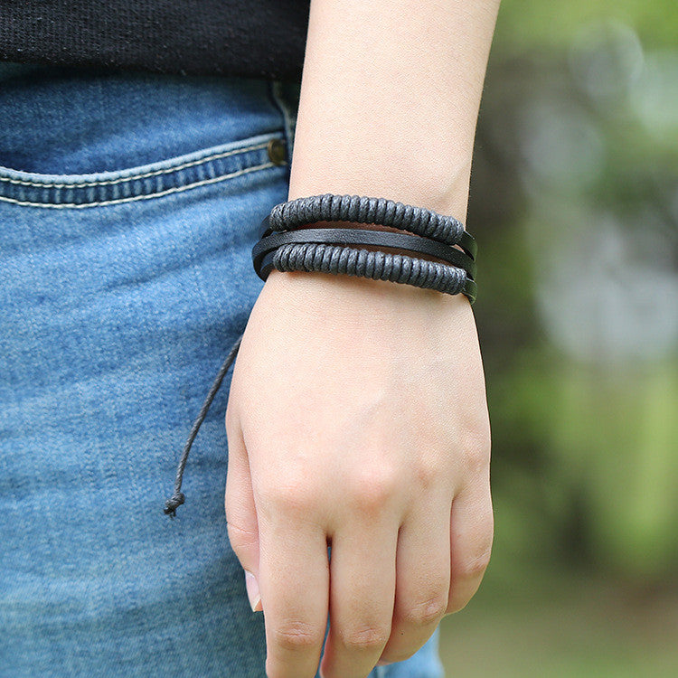 Fashion Multilayer Woven Leather Bracelet