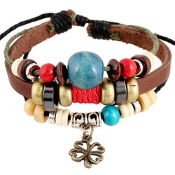 Clover Pendant Color Beads Leather Bracelet