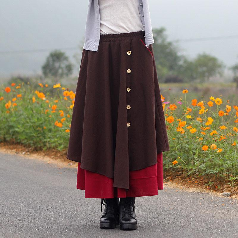 Bohemian Style Multi-layer Button Long Loose Skirt