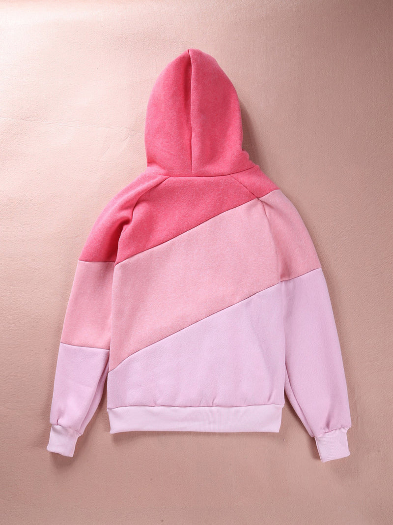 Color Block Patchwork High Neck Sport Hoodie - May Your Fashion - 8