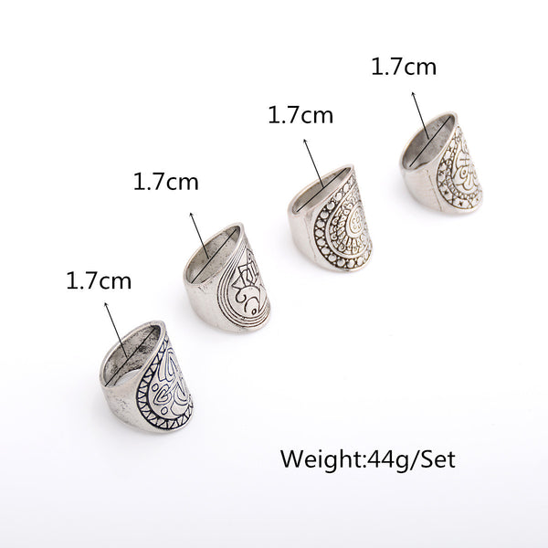 Exaggerate Punk Totem Carve Designs Ring Set