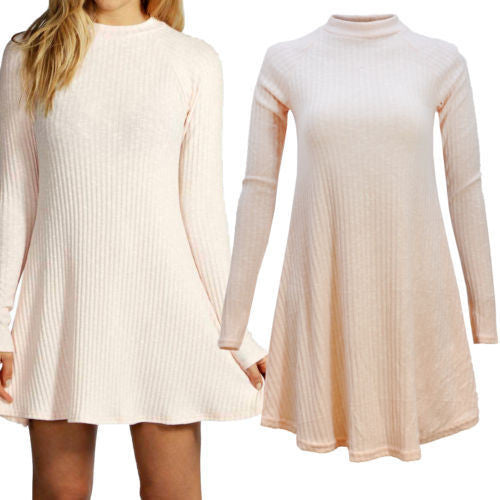 Women's Fashion Knit Ribbed Scoop A-Line Long Sleeve Sweater Dress