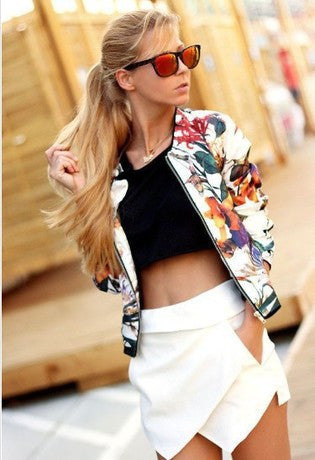 Scoop Zipper Flower Print Slim Short Coat - May Your Fashion - 1