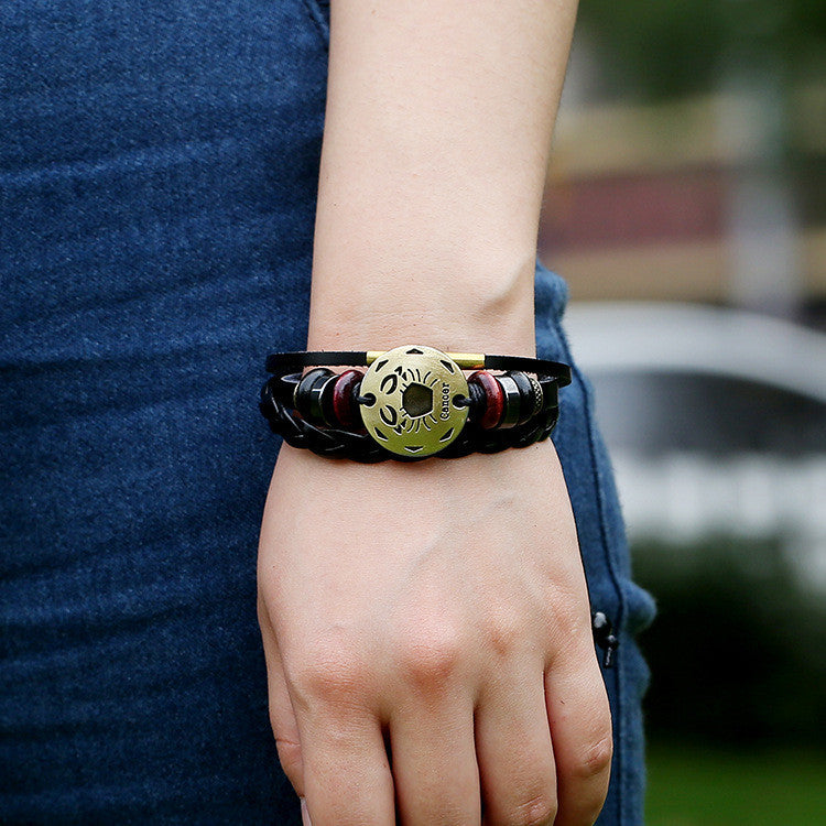 Cancer Constellation Woven Leather Bracelet