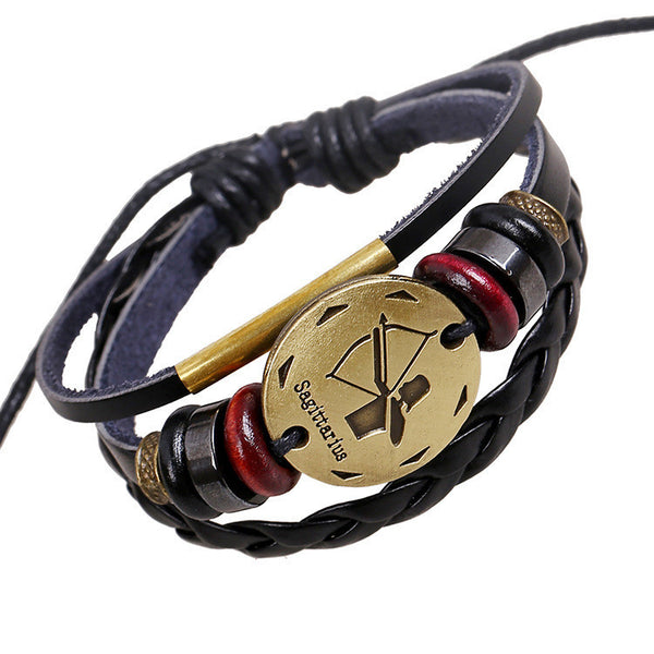 Sagittarius Constellation Woven Leather Bracelet