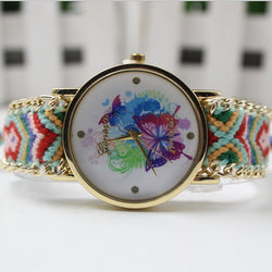 Color Matching Spinning Butterfly Flower Print Watch