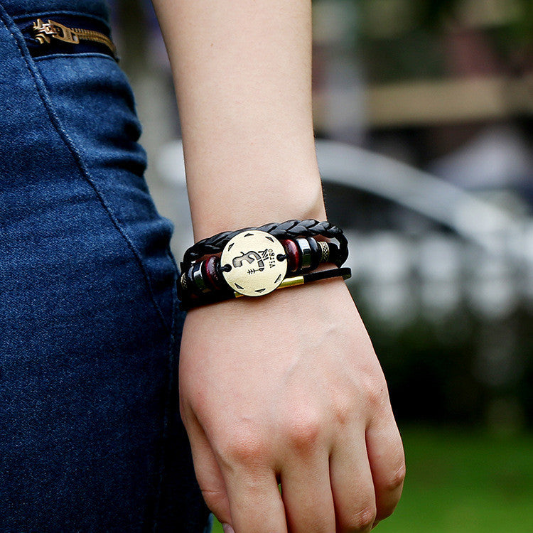 Virgo Constellation Woven Leather Bracelet