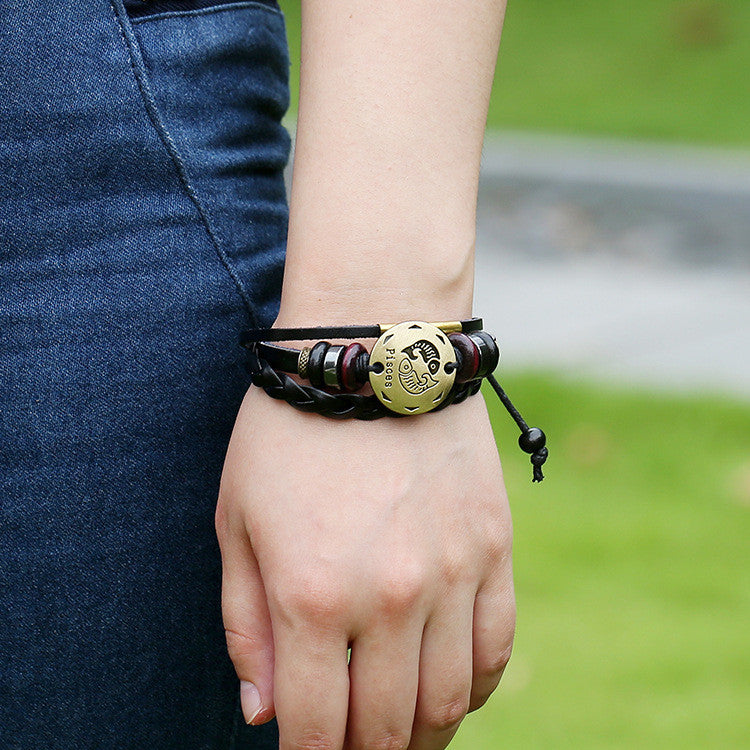 Pisces Constellation Woven Leather Bracelet