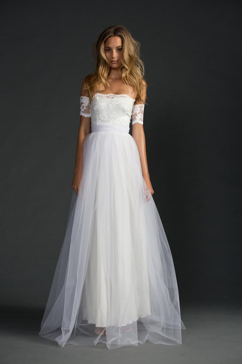 Off-shoulder Lace Pleated Bowknot Floor Grown Long Dress