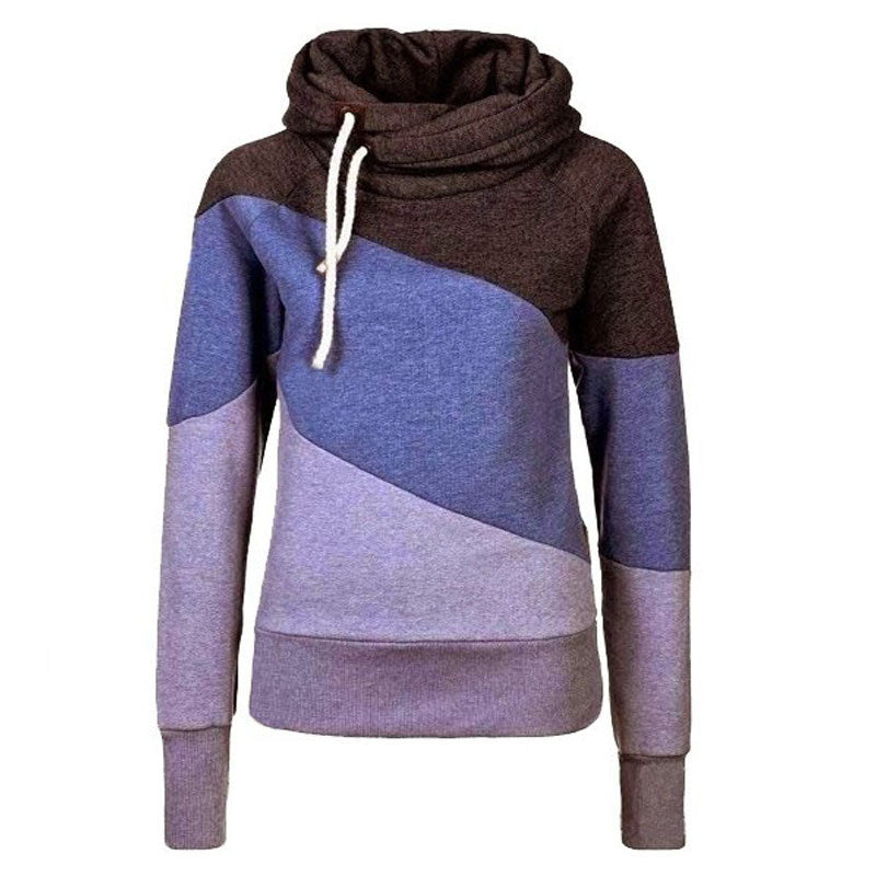 Color Block Patchwork High Neck Sport Hoodie - May Your Fashion - 6