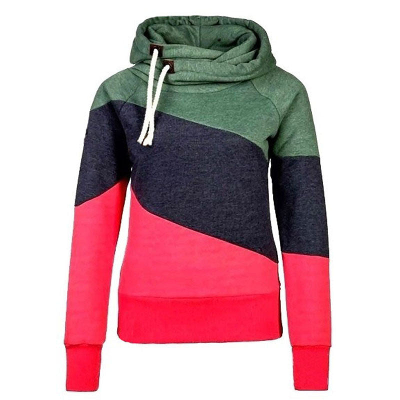 Color Block Patchwork High Neck Sport Hoodie - May Your Fashion - 4