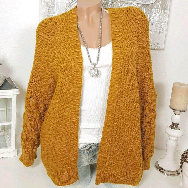 Hollow Out Crochet Pure Color Knit Cardigan