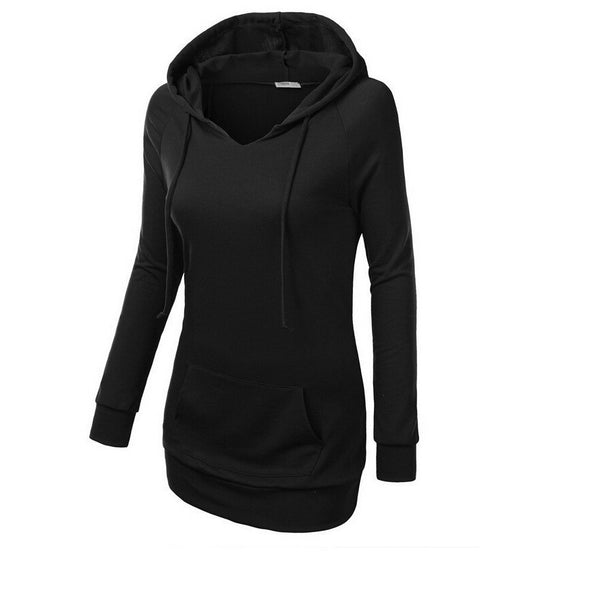 Solid Color Hooded Long Sleeve Pullover Slim Hoodie - May Your Fashion - 2