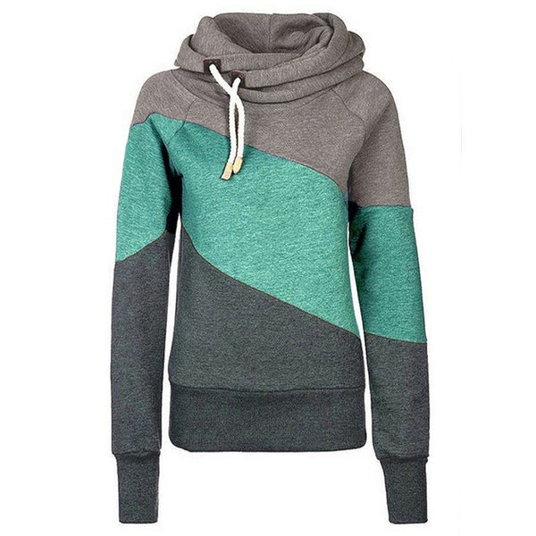 Color Block Patchwork High Neck Sport Hoodie - May Your Fashion - 1