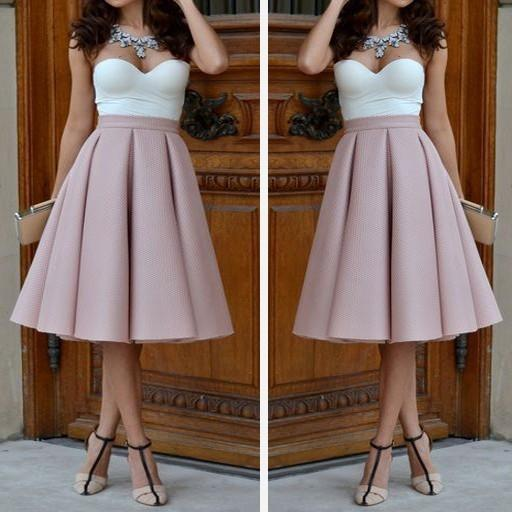 Pure Color High Waist Pleated A-line Skirt