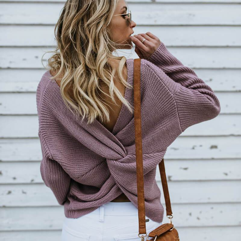 Crewneck Open Back Pullover Sweater