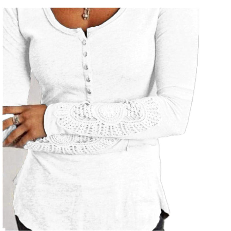 Lace Patchwork Long Sleeve Scoop Pure Color Slim T-shirt
