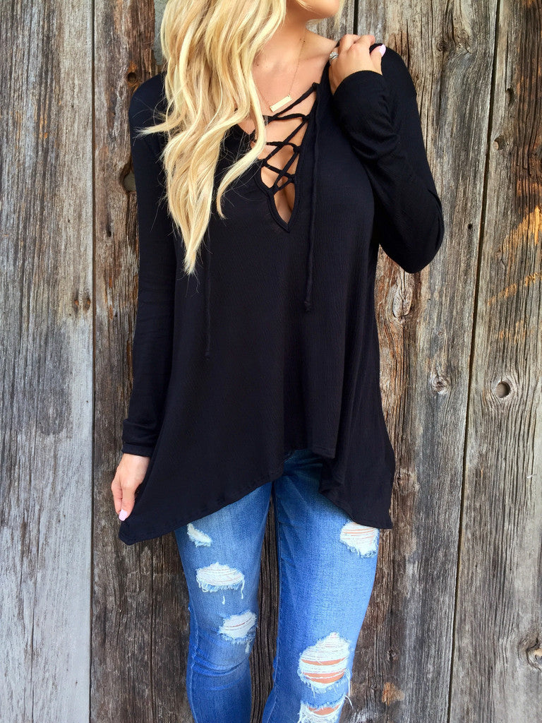Cross Strap Neckline Irregular Long Sleeves Loose Hooded Blouse