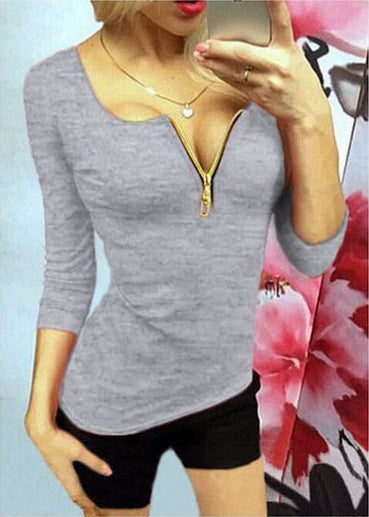 Sexy Zipper V-neck 3/4 Sleeves Slim T-shirt