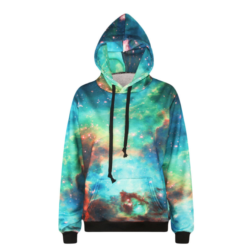 Galaxy Print Pocket Drawstring Slim Hoodie