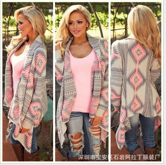 Shawl Collar Asymmetric Print Cardigan Sweater