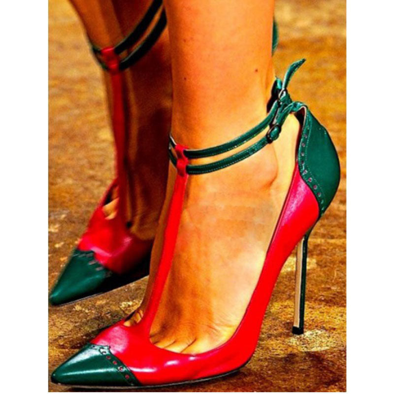 Color Block Leather Pointed Toe Strap High Heels