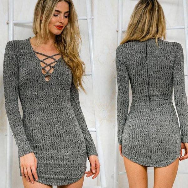 Women Knitting  Long Sleeve Sweater Lace  Bodycon Dress - MeetYoursFashion - 1