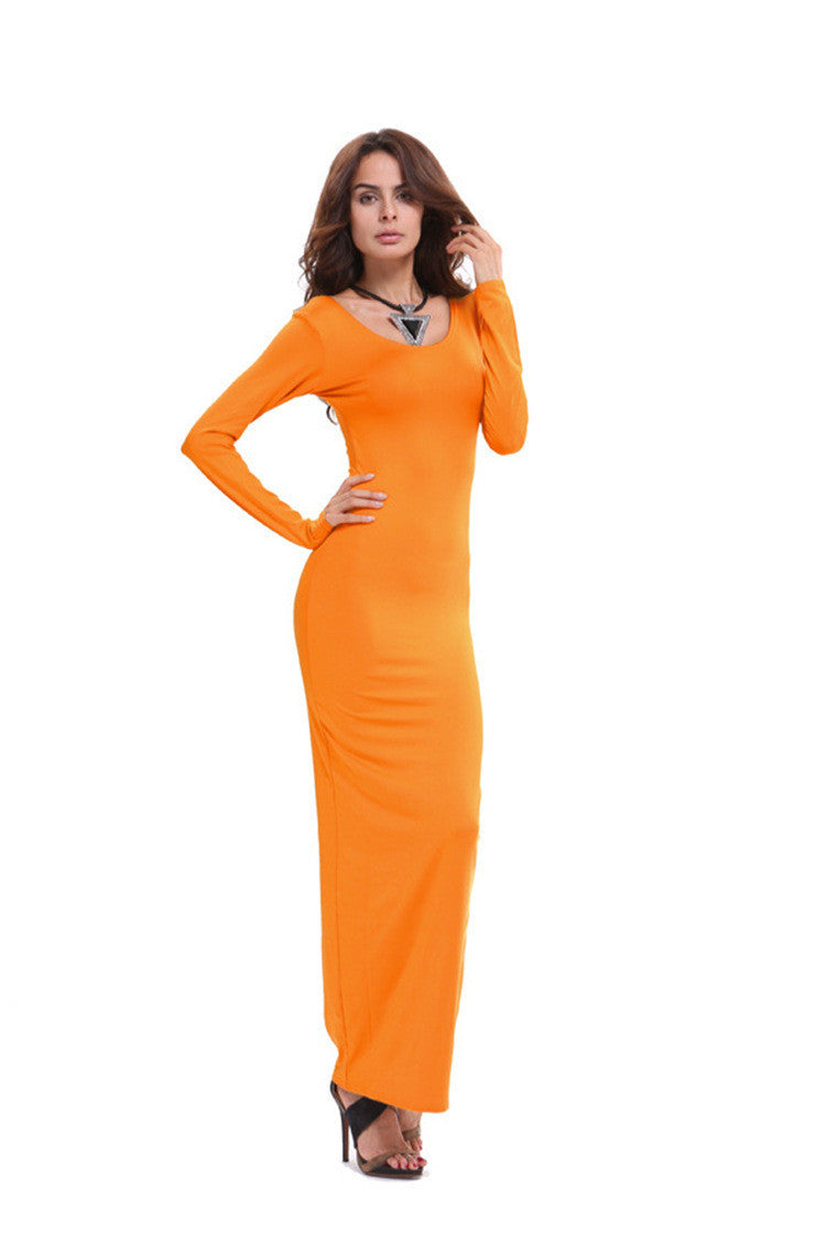 Elegant Pure Color Long Sleeve Scoop Bodycon Long Dress