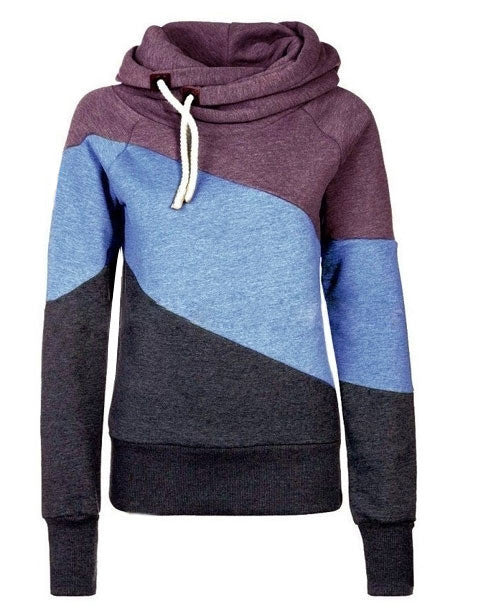 Color Block Patchwork High Neck Sport Hoodie - May Your Fashion - 3
